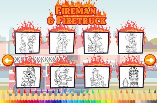 消防车和消防员着色书